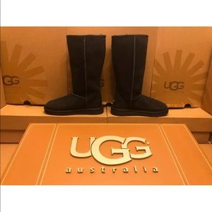 New UGG Black Classic Tall Sheepskin Suede Boots